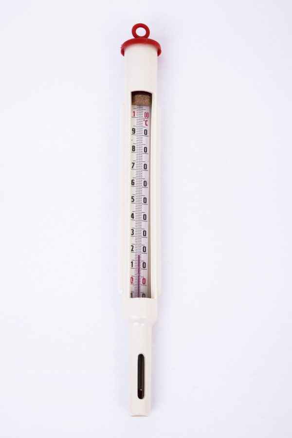Thermometer in housing